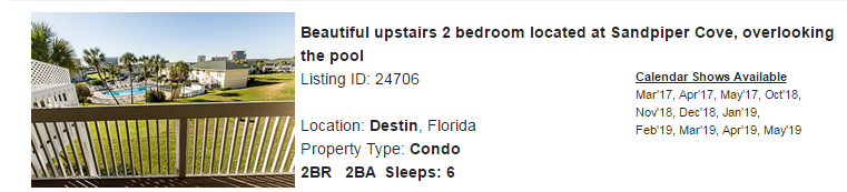 Destin, Florida Snowbird Rental