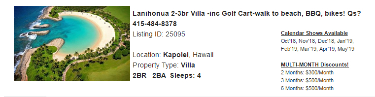 Kapolei, Hawaii Snowbird Rental