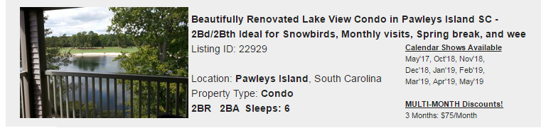 Pawleys Island, South Carolina Snowbird Rental