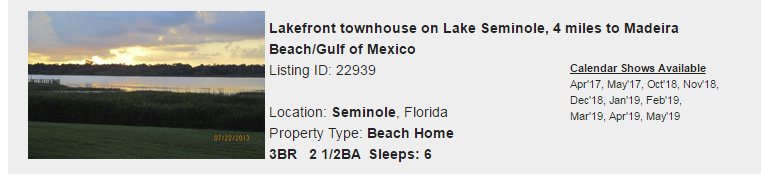 Seminole, Florida Snowbird Rental