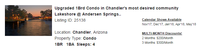 Chandler, Arizona Snowbird Rental