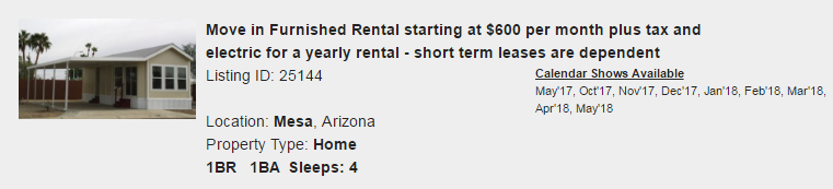 Mesa, Arizona Snowbird Rental