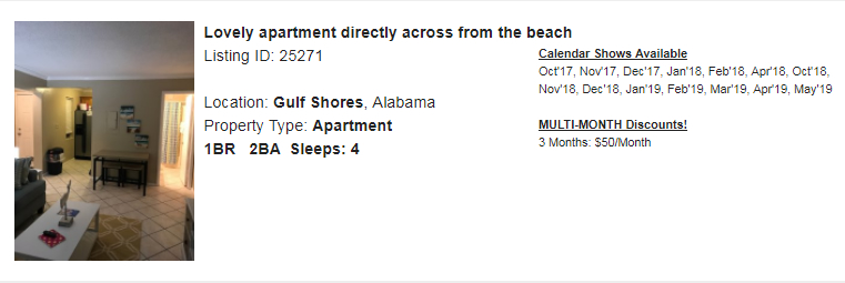 Gulf Shores, Alabama Snowbird Rental