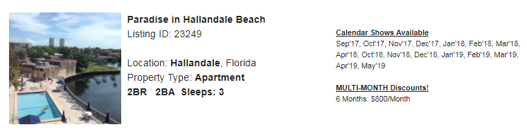 Hollandale, Florida Snowbird Rental