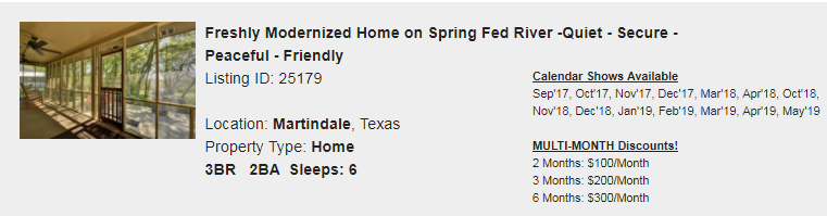 Martindale, Texas Snowbird Rental