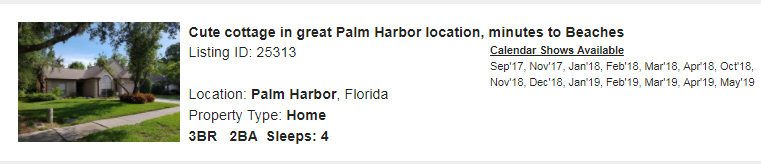 Palm Harbor, Florida Snowbird Rental
