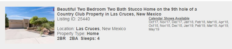 Las Cruces, New Mexico Snowbird Rental