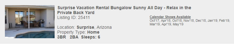 Surprise, Arizona Snowbird Rental