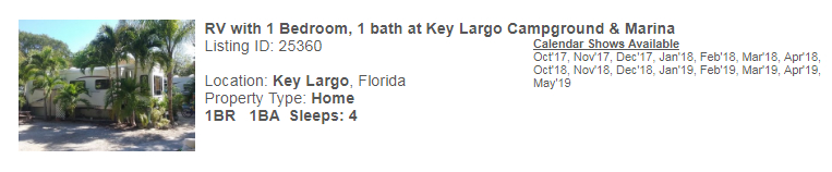 Key Largo, Florida Snowbird Rental