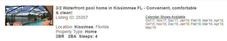 Kissimee, Florida Snowbird Rental