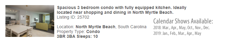 North Myrtle Beach, South Carolina Snowbird Rental