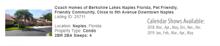 Naples, Florida Snowbird Rental