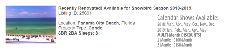 Panama City Beach, Florida Snowbird Rental